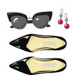 fashion women shoes with sunglasses and earrings vector image vector image