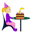 girl with birthday cake on white background vector image vector image