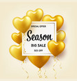 golden balloons in heart shape season sale banner vector image