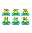 green funny frog characters set cute amphibian in vector image vector image