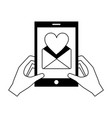 hands with smartphone message love romantic vector image vector image