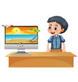 happy boy next to computer with beach on screen vector image