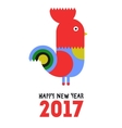 Happy New Year of the red Rooster greeting card vector image vector image