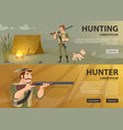 hunting horizontal banners vector image vector image
