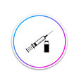 medical syringe with needle and vial icon isolated vector image vector image