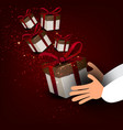 men s hands holding gift christmas vector image vector image