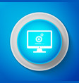 monitor update process with gearbox progress icon vector image vector image