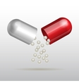Opening red medical capsule vector image vector image