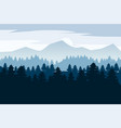 pine forest and mountains backgrounds vector image