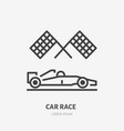 racing car with checkered flags flat line icon vector image vector image