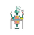 robot cook prepares food in kitchen isolated on vector image vector image