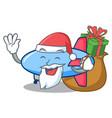santa with gift zeppelin mascot cartoon style vector image