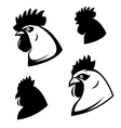 set chicken heads rooster head design vector image vector image