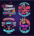 set happy valentines day neon greetings card vector image vector image