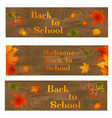 set of back to school backgrounds with leaves vector image