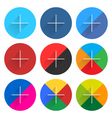 Social network web icon set with plus sign vector image vector image