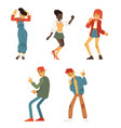 teen people dancing at party flat set vector image