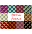 victorian floral damask seamless pattern set vector image vector image