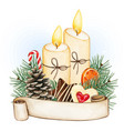 watercolor christmas candle decoration vector image vector image