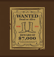 western background wanted vintage poster hand vector image vector image
