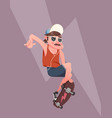 young man doing skateboard trick vector image
