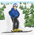 Young man skier standing on snowy ski slope vector image vector image