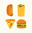 hot dog burrito pizza burger cheeseburger vector image