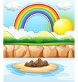 Scene with rainbow at sea vector image