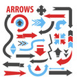 arrows various direction pointing icons collection vector image vector image