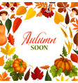 autumn poster with frame of fall season nature vector image vector image