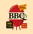 bbq party banner with decorative barbecues grill vector image vector image