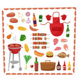 bbq party elements isolated on white background vector image