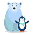 bear and penguin arctic animal postcard vector image