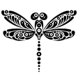 Black and white beautiful dragonfly tattoo vector image vector image