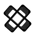 Black icon bandage plaster cartoon vector image