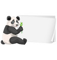 blank sign template with cute panda on white vector image