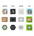 board game cartoonblackoutlineflat icons in set vector image vector image