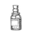 bubbled potion elixir bottle monochrome vector image