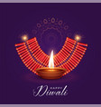 burning diya and cracker for diwali festival vector image