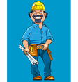 cartoon man working in a helmet with drawings vector image vector image