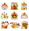 cinco de mayo fiesta party icon of mexican holiday vector image vector image