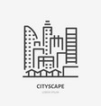 city line flat linear icon sign of urban vector image