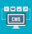 cms concept on blue background vector image
