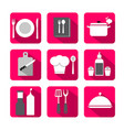 cooking flat icons vector image