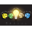 Creative light bulb with crumpled paper vector image