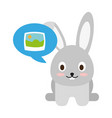 cute bunny with picture on speech bubble vector image