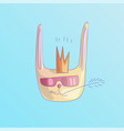 cute cool rabbit with crown on his head vector image