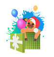 cute dog in santa hat sitting in gift box merry vector image