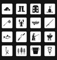 fishing tools icons set squares vector image vector image