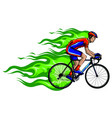 flaming trail bicycle race silhouette vector image
